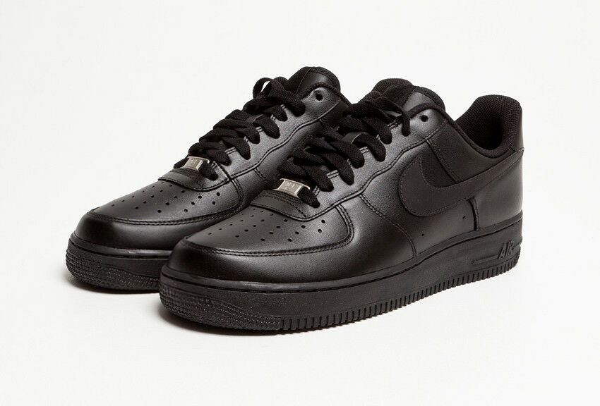 NIKE Air Force 1 '07 Men's Low Casual Black Black Leather shoes New
