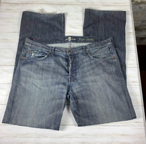 Men-039-s-7-For-All-Mankind-039-A-039-Pkt-Relaxed-Straight-Leg-Jeans-sz-38-distressed