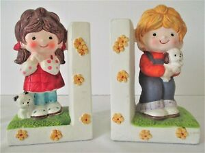 Gentle-Treasures-Bookends-Vintage-1977-Boy-Girl-Dog-Cat-Figurines-RARE-VHTF
