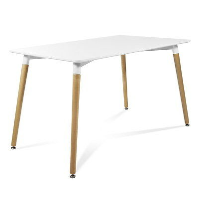 Mesa rectangular MRE-120x80  color blanco McHaus cocina comedor salon madera