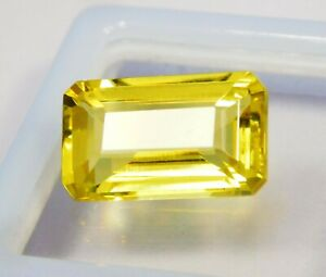 Natural-CERTIFIED-Emerald-Cut-8-Ct-Yellow-Ceylon-Sapphire-Loose-Gemstone