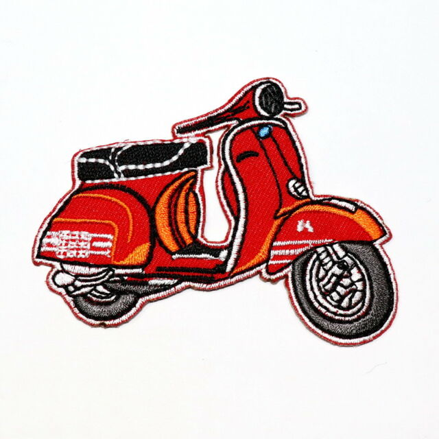 Vespa Red Scooter Motorcycle Bike Vintage Retro DIY Clothes Jacket Iron on patch