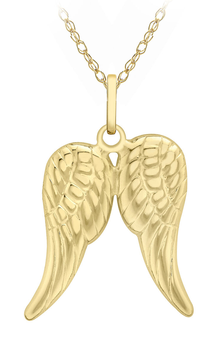9ct Yellow gold Wings Pendant on 18  Prince Of Wales Chain Inc Luxury Gift Box