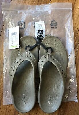 Men Crocs Swiftwater Deck Flip Flop Sandal 204961-26P Khaki Stucco 100/%Authentic