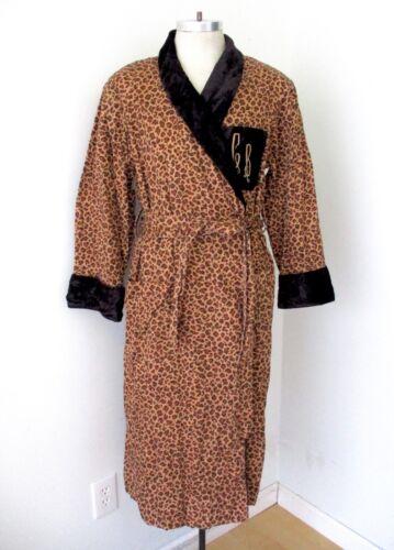 Vtg brown leopard cheetah cotton print smoking jac