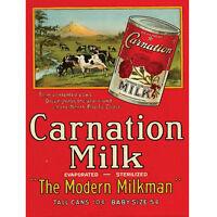 Carnation Milk Modern Milkman Metal Sign Vintage Style Kitchen Decor 9 X 12