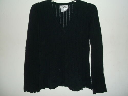 NWT Flax Pima Cotton Wide Ribbed SHORT PULLOVER Sweater sz S//M M//L $138 BLACK