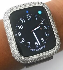 online store 0c278 e51ee Details about Bling apple watch Series 4 S4 bezel Face case cover Zirconia  Diamond Silver 40mm