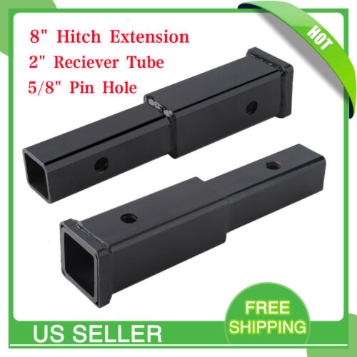 """8/"""" Hitch Extension Receiver Extender 2/"""" Reciever Tube 5//8/"""" Pin Hole FREE SHIP MX"""