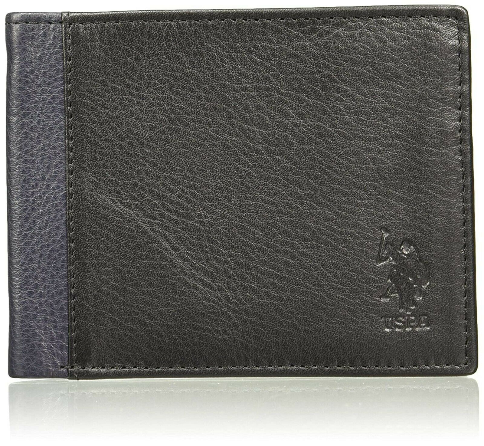 US Polo Association Black & Navy Leather Wallet For Men