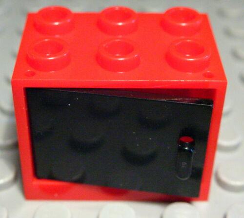 1164 LEGO armoire 2x3x2 rouge avec porte noire