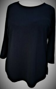 Womens-Ladies-Plus-Sizes-Tunic-Blouse-Top-3-4-Sleeves-Navy-New-Curves-Size-30-32