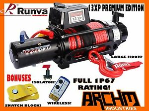 Details about RUNVA 13XP PREMIUM IP67 WATERPROOF W/DYNEEMA ROPE 12V  RECOVERY WINCH+BONUSES 11