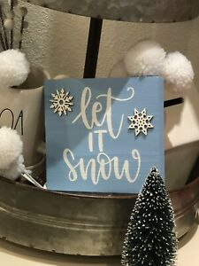 Christmas signs  Christmas tiered tray signs  Christmas tiered tray decor  Christmas sign  Let is Snow  Merry Christmas