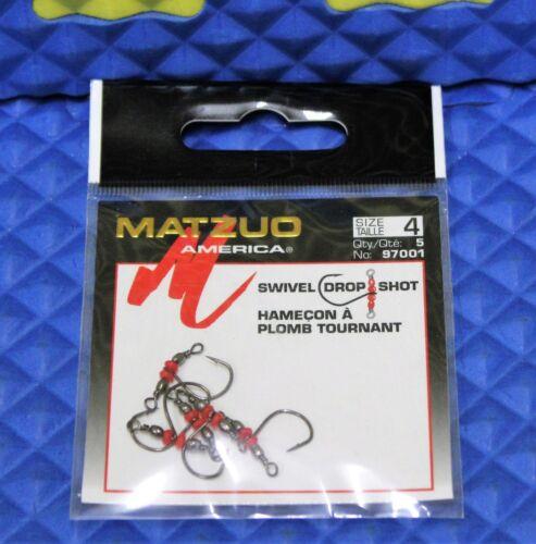 Matzuo America Swivel Drop Shot Hook Size 4, 5-Pack 97001-4 Black Chrome
