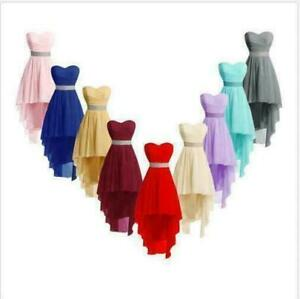 Plus Size 2-26 High Low Bridesmaid Dresses Homecoming Formal Prom Party Gown NWL