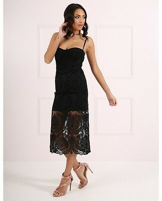 BRAND NEW Forever Unique Women/'s Tabby Pencil Dress With Lace Overlay Black
