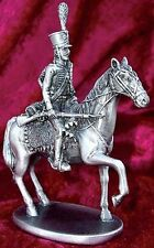 French Hussard Napoleon's Army Statue 3.75 Inches Silver Plated Pewter (1599)