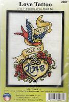 Cross Stitch Kit - Design Works - love Tattoo - 5 X 7 Dw2967