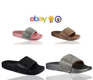 Womens Slip On Slider Flat Diamante Sandals Rubber Mule Comfy Ladies Shoes Sizes