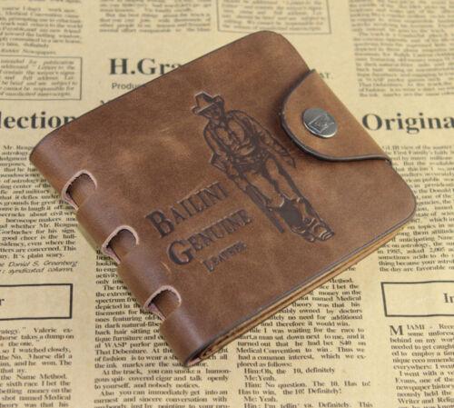 Mens Leather Bifold Pockets Card Clutch Cente Money Clip Cad Holder Wallet Purse
