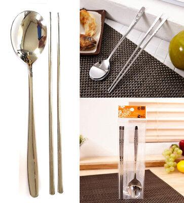 Stainless Steel Spoon and Chopsticks Set// Turtle Flower patten tableware// Korea