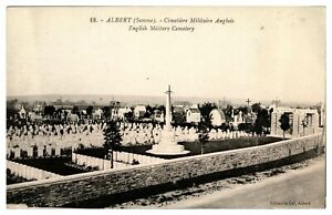 Antique-WW1-printed-military-postcard-Albert-Somme-English-Cemetery