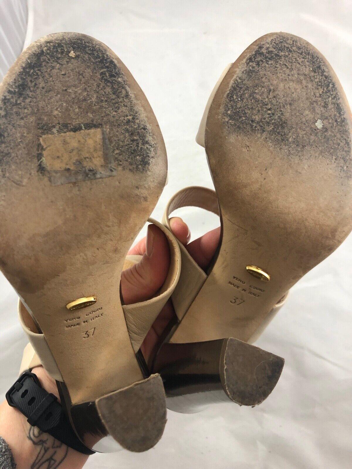 Sergio Sergio Sergio Rossi Dos Tonos De Cuero Sandalia Envoltura de tobillo en Bronceado Desnudo Talla 37 9ea0bf