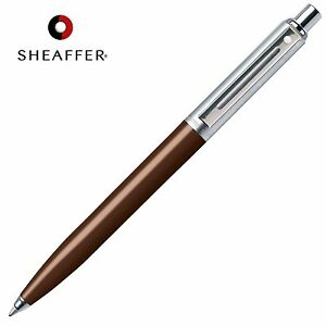 SHEAFFER Sentinel BLACK Refill Ballpoint Ball Pen Brown & Chrome Barrel GIFT BOX