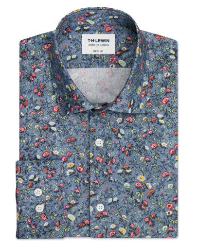 T.M.Lewin Mens Premium Liberty Fabric Mina Print Blue Single Cuff Shirt