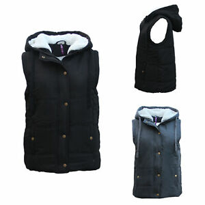 Women-039-s-Hooded-Sherpa-Fur-Puffy-Puffer-Sleeveless-Jacket-Vest-Waistcoat-Quilted