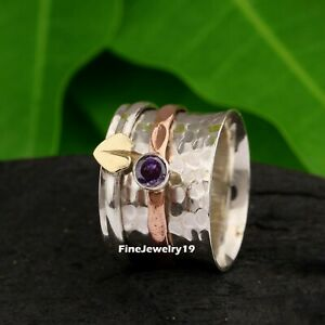 Amethyst-Ring-925-Sterling-Silver-Spinner-Ring-Meditation-Statement-Jewelry-A506