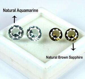 8.85 Ct/4 Pcs Round Cut Natural Brown Sapphire & Apatite Gemstone Lot Certified