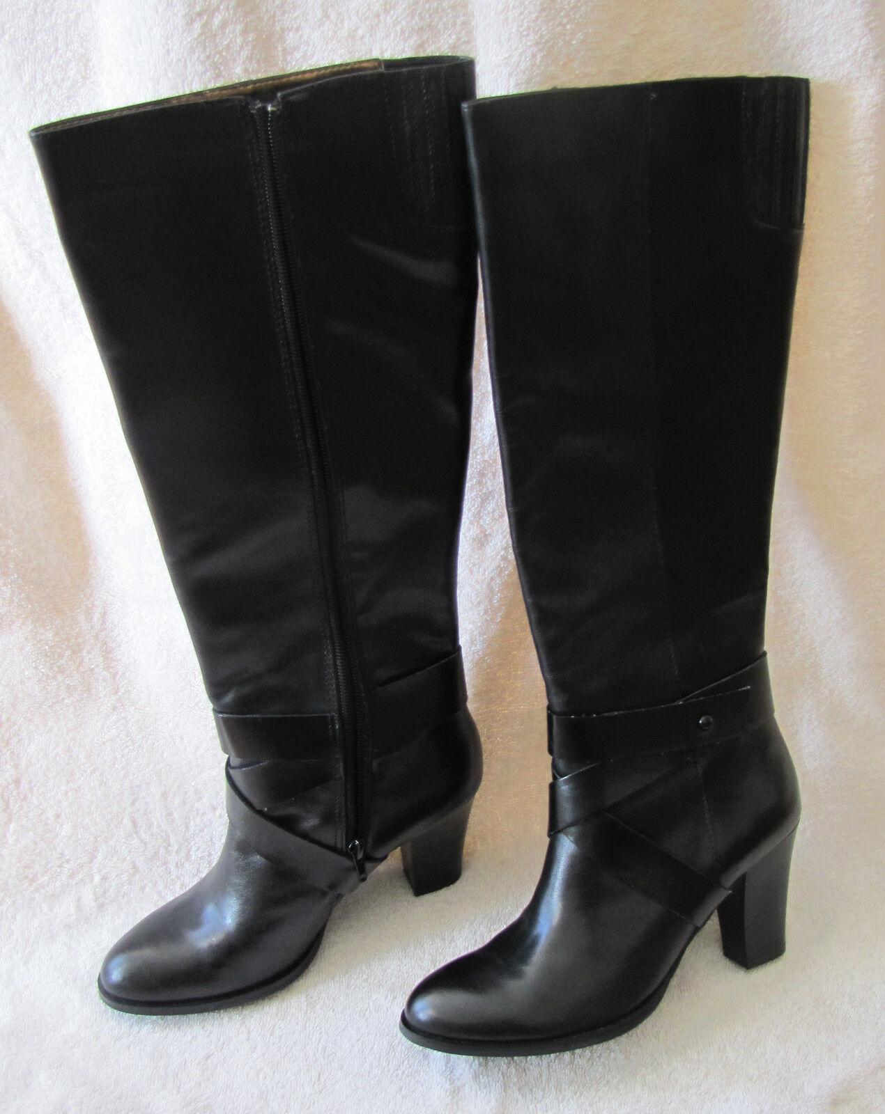 Nuevo En Caja Para Mujeres Cuero Negro Ellen Tracy Prowler rodilla Taco Alto botas Zip Vestido 7M