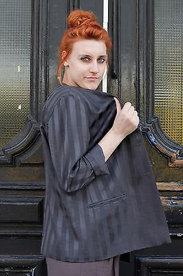 Giacca Donna Blazer Grigio Grey Strisce Stripes 90er True Vintage 90´s Women-mostra Il Titolo Originale
