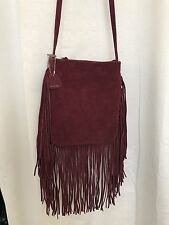 NWT MONSERAT DE LUCCA Suede Fringe Crossbody Hobo Bag-burgundy