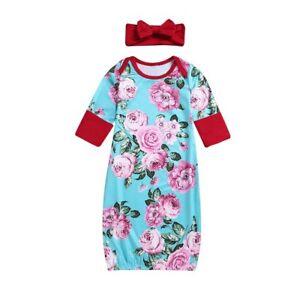 5cfc7ccd50 Image is loading Newborn-Baby-Girls-Kids-Long-Sleeve-Sleepwear-Nightwear-