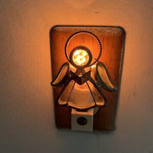 Vintage-Blue-Sky-Angel-Wall-Plug-Night-Light-Sensor-Switch-Metal-Glass-2000