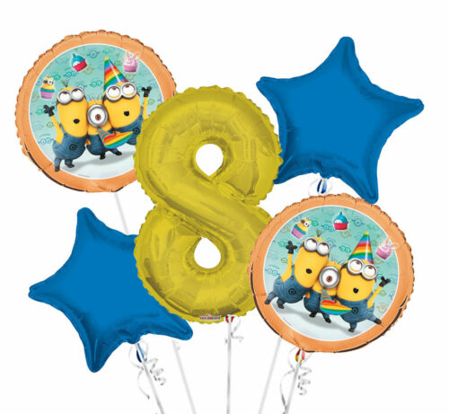 """Set of 5 Bouquet Minions Balloons 34/"""" Number Balloon Gold"""