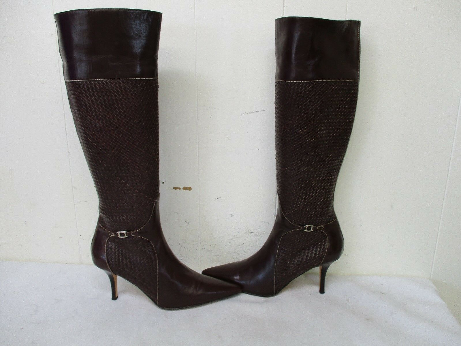Cole Haan Collection Brown Leather Knee High Heel Zip Boots Size 8.5 B D15126