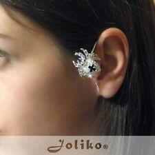 JoliKo Ohrklemme Ear cuff Kreuzspinne Silber Spinne Cross Spider Kristall RECHTS
