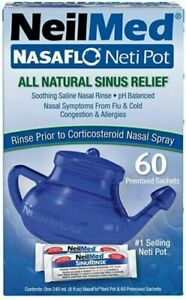 NeilMed Nasaflo NetiPot Daily Nasal Hygiene with 60 Premixed All Natural Sachets