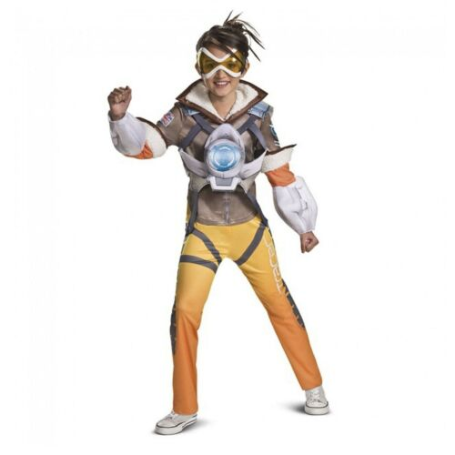 Girls Overwatch Deluxe Tracer Vest Jumpsuit Mask Halloween Costume Child S-XL