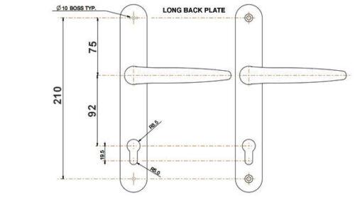Trojan Sparta Long 92PZ Sprung Lever UPVC Door Handles 212mm Screw Centres Gold