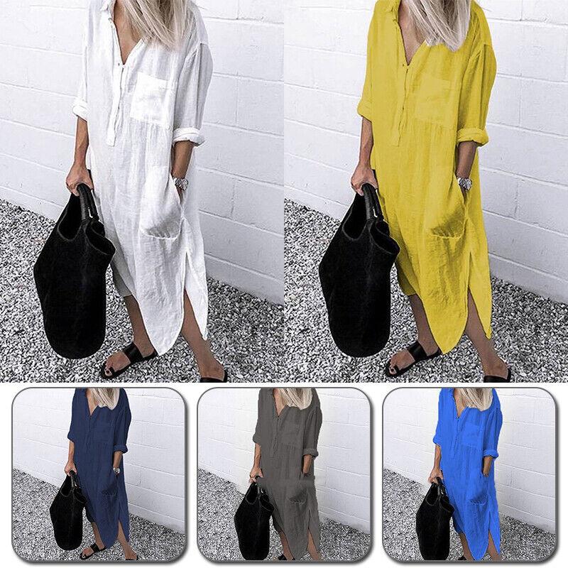 Frauen Einfaches Kleid Langarm Einfarbig Schlitz Mode Hochwertige S-4XL
