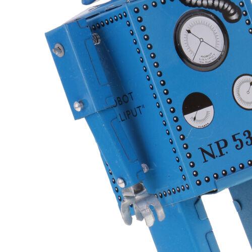 Wind Up Walking Lilliput Robot Uhrwerk Zinn Spielzeug Sammler Geschenke Blau