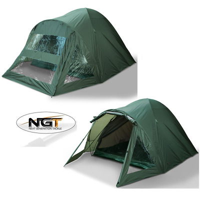 NGT CARP FISHING 2 MAN BIVVY TENT DOUBLE SKINNED WATERPROOF GREEN SHELTER