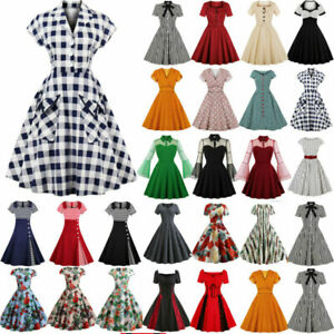 Womens-50s-60s-Vintage-Style-Pinup-Swing-Club-Party-Rockabilly-Housewife-Dress