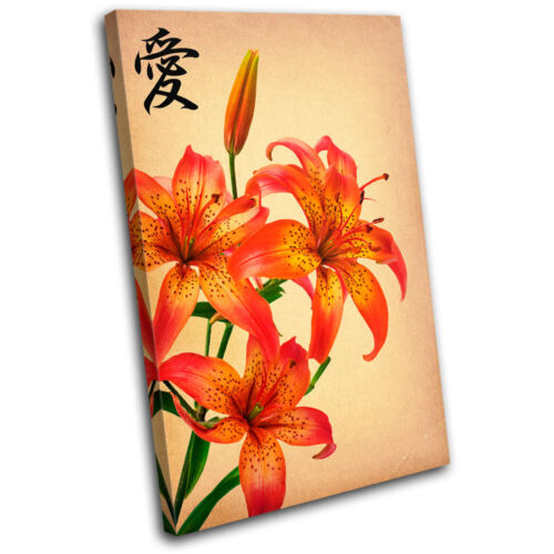 Japanese Flowers Floral SINGLE CANVAS WALL ART Picture Print VA