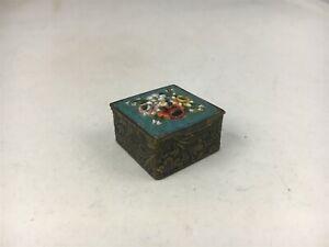 Vintage Micro Mosaic Floral Design Square Trinket/Pill Box